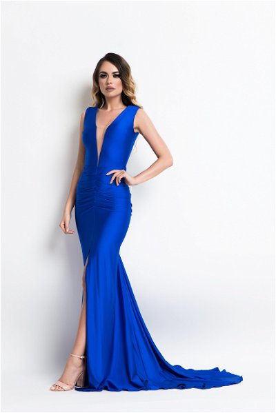 Rochie lunga tip sirena Marissa Electric Blue